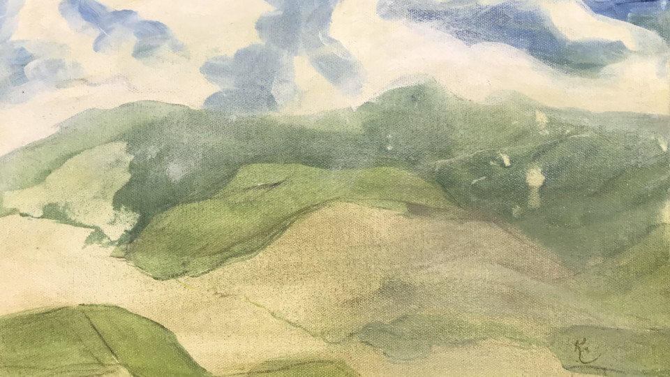 """Quiet Simplicity "" is a view of the eastern hills in early summer- currently hanging in my loft Studio at Art Presence. It will move downstairs November  6 opening show."