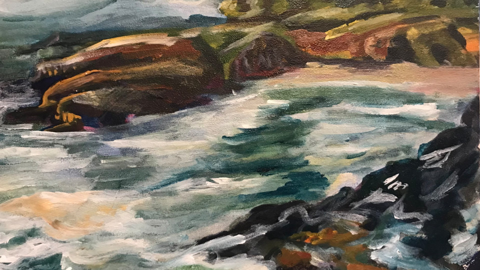 757- Sea Cliffs at Rocky Creek acrylic painting from the Oregon coast