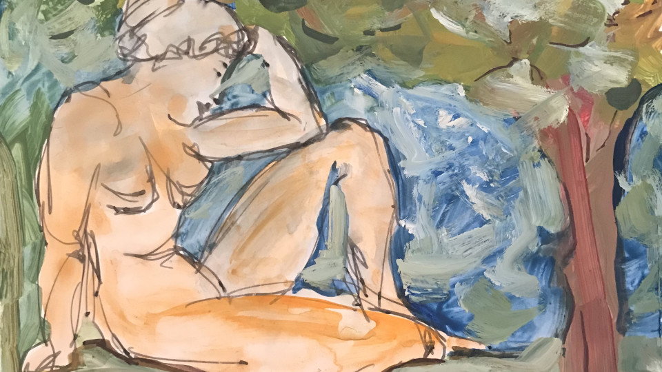 """Detail """" Considering """"  Watercolor - Transparency and Opacity - Gouache"""