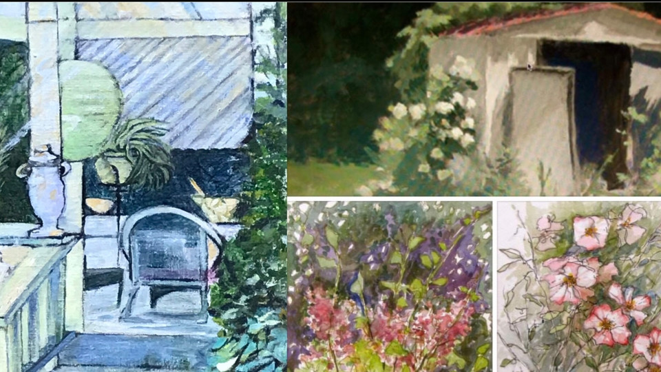 """Opening day Jan. 15, 2021 """"Baldesarre's Italio Gardens """"a painting exhibition"""