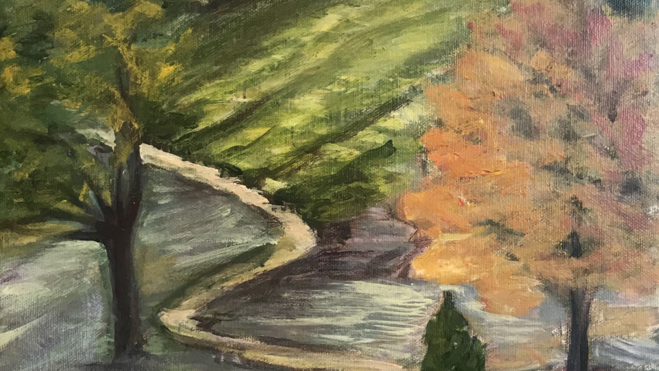 685– Contrasts -A landscape painting that considers the  way choices we make are based on a  Compare and Contrat thought process