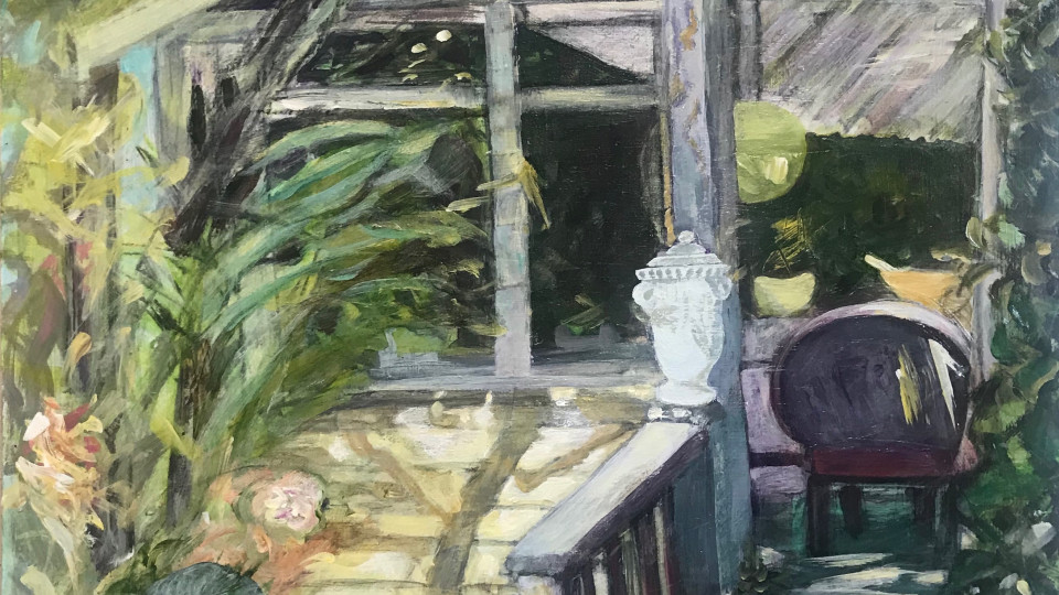"""""""Porch Haven I"""".  Opening in January at the Rogue Gallery A group show by 7 artists of work done at the Baldesarre Italio Garden in Medford"""
