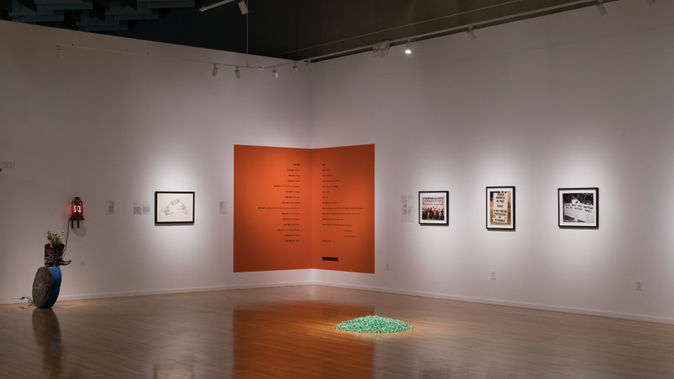 """Installation view of """"I Am Here"""" at the Marjorie Barrick Museum of Art. Photo by Mikayla Whitmore"""