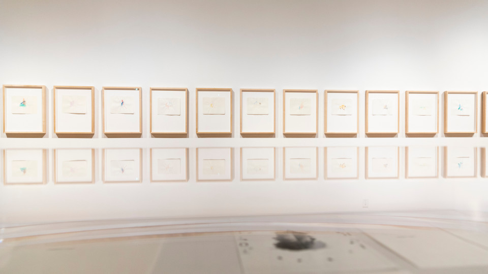 """Installation view of works by Richard Tuttle in """"Excerpts: Works from the Marjorie Barrick Museum of Art Collections"""" (Photo by Lonnie Timmons III/UNLV Creative Services)"""