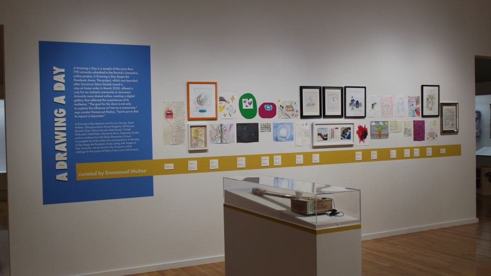 """Installation view of """"A Drawing A Day"""" (Photo by Dan Hernandez)"""