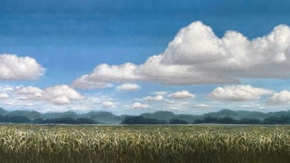 Cloud Cover by Daphne Xiao, acrylic on panel, 18 in x 36 in