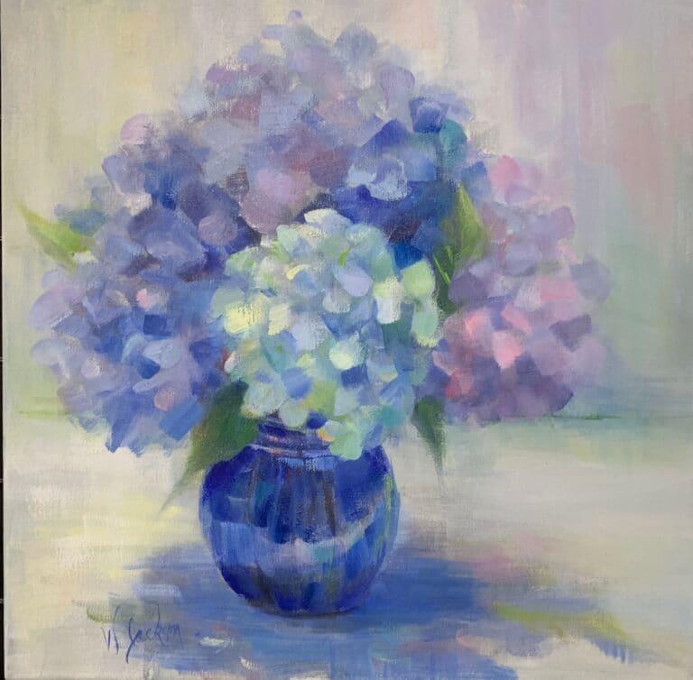 Hydrangeas in Cobalt Vase by Wendy Jackson