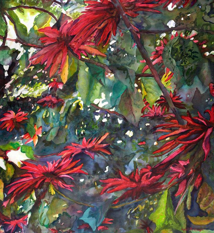 Poinsettia Tree by April Rimpo