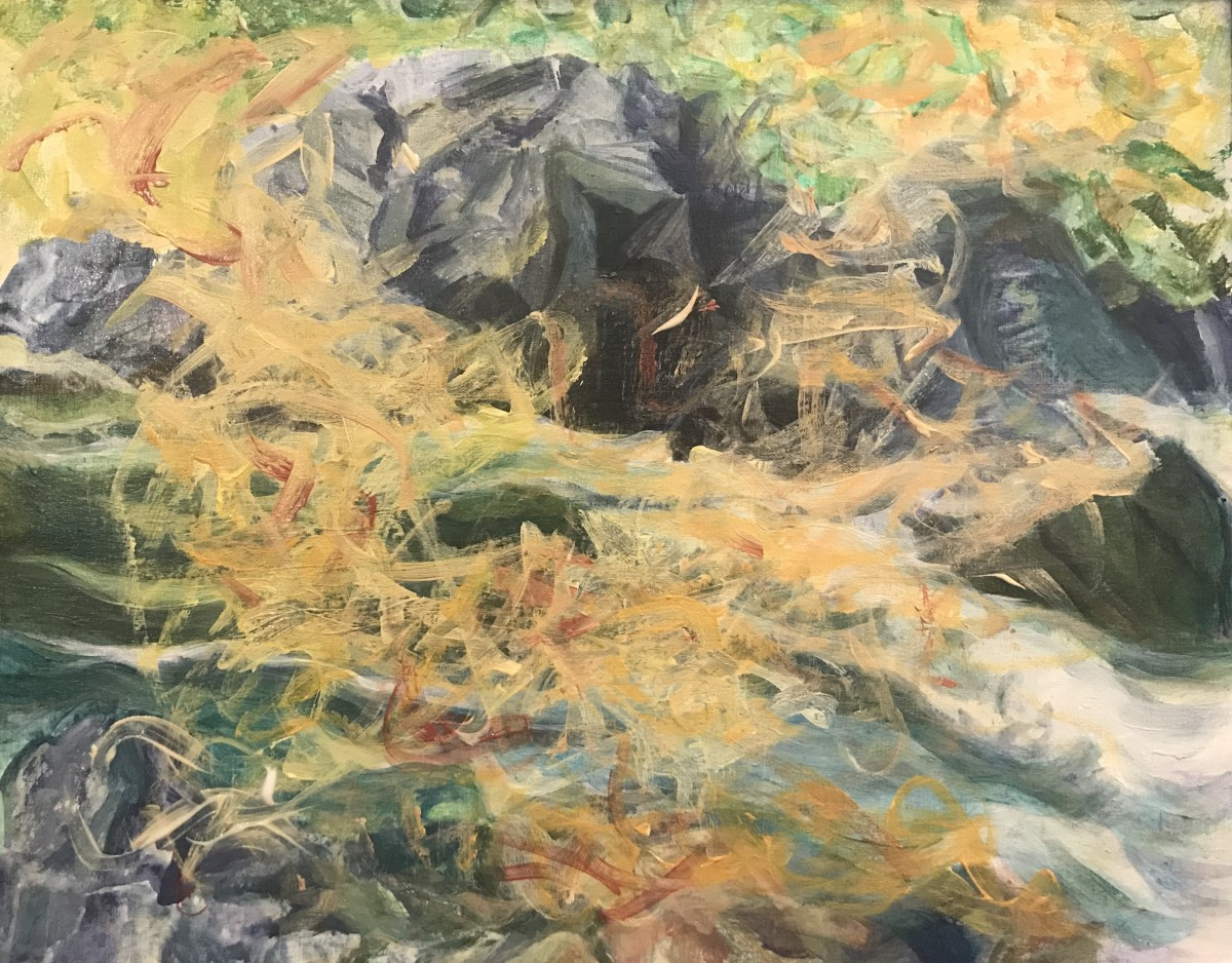 572- Sunshine on thé Umpqua /Boulders near Deadline Falls Umpqua by Katy Cauker