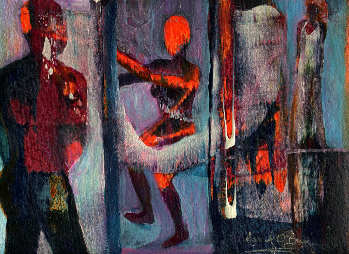 Man Gazing at Two Goddesses by Mari O'Brien