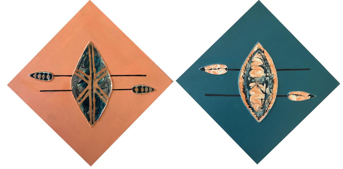 Shields & Spears (Diptych) by Mari O'Brien