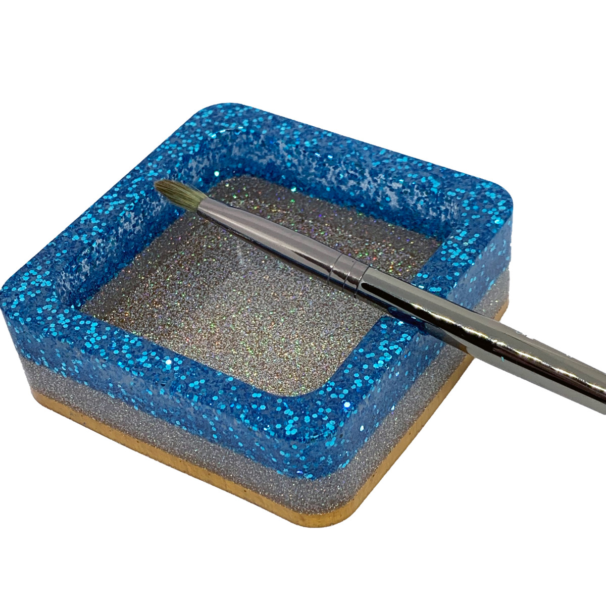 Resin Container - Square Paintbrush/Makeup Brush Holder - Ashtray #4 by Susi Schuele