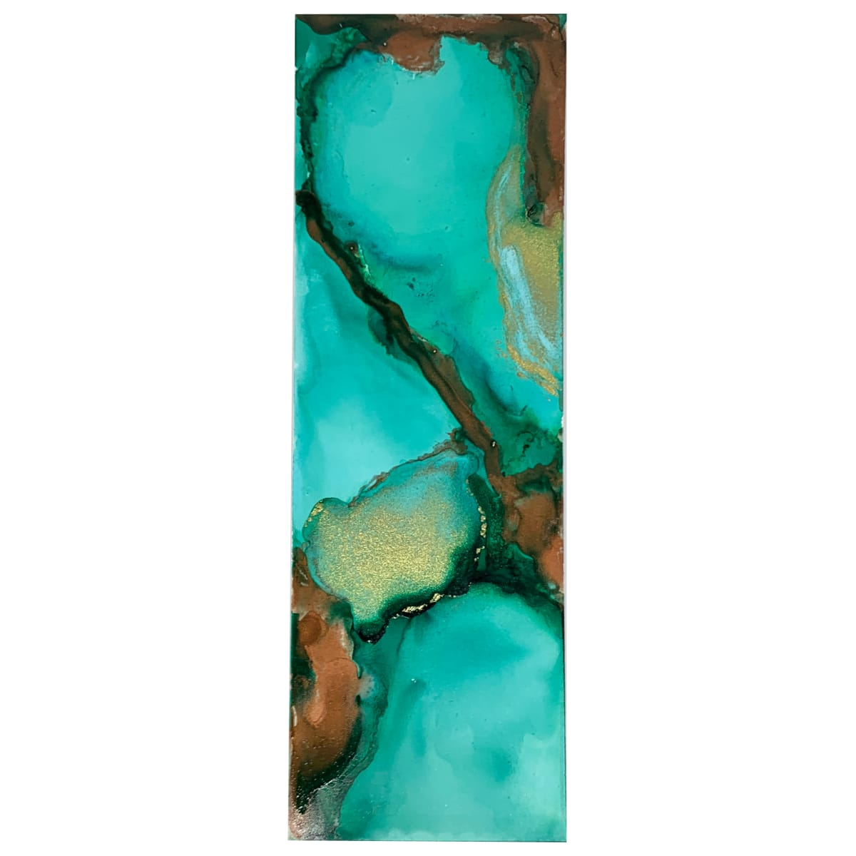 Alcohol Ink Bookmark - Turquoise, Copper #6 by Susi Schuele