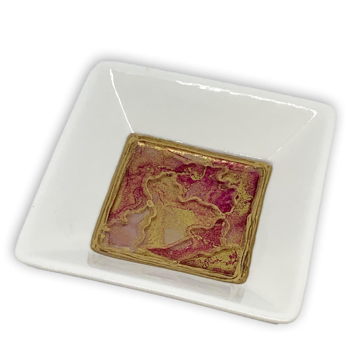 Ceramic White Trinket Dish - Pink Gold #3 by Susi Schuele