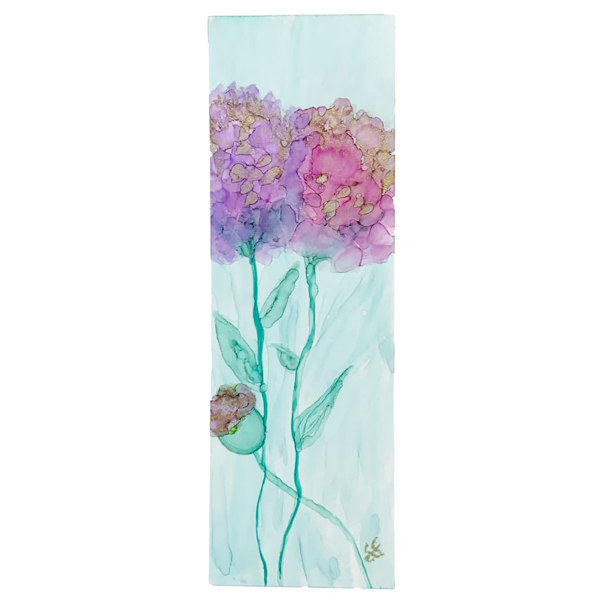Alcohol Ink Bookmark - Hydrangeas #9 by Susi Schuele