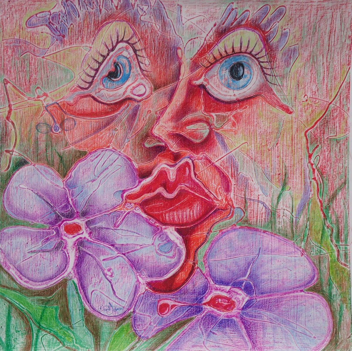 Face and two flowers