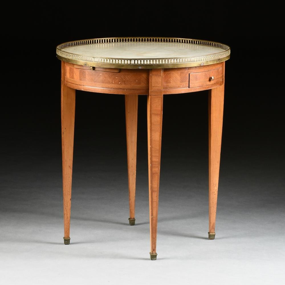French Table à Bouillote with Marble Top and Tulipwood Parquetry, 19thC