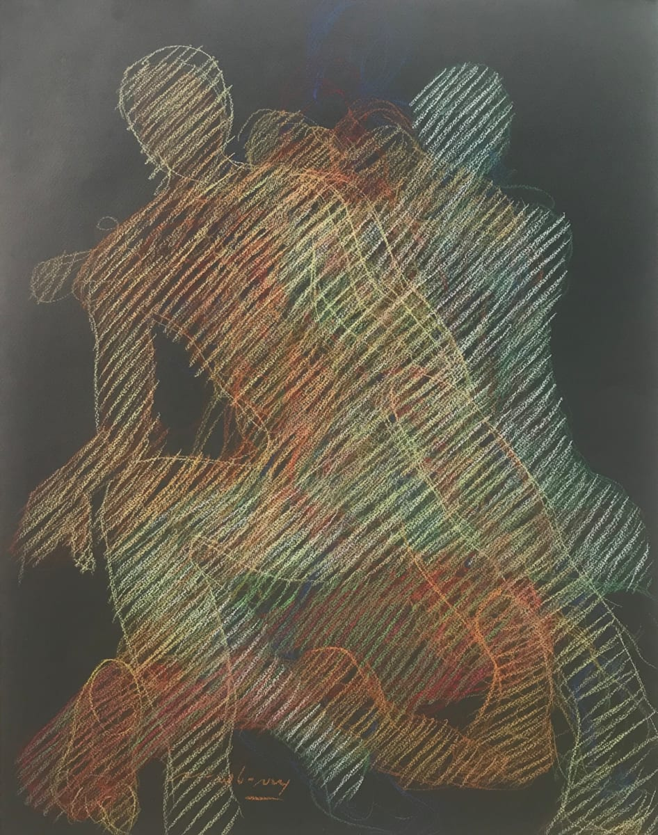 "Sitting Echoes, Newberry, pastel on dark paper, 26x19"" by Michael Newberry"