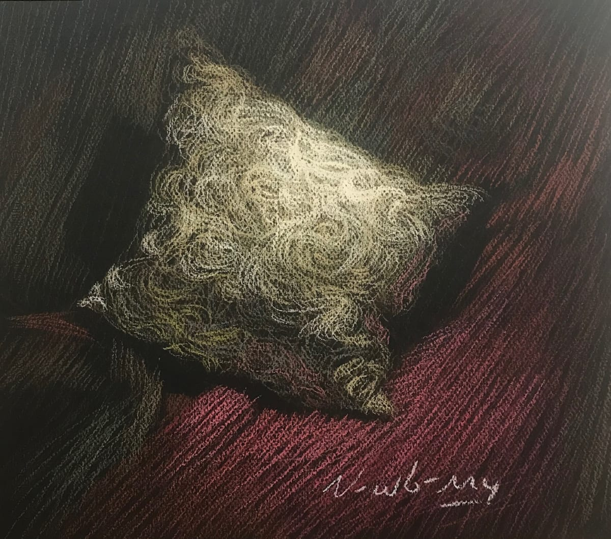 "Newberry, Pillow, 2019, pastel, 12x14"" by Michael Newberry"