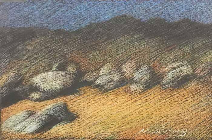 Newberry, Borrego Rocks, pastel by Michael Newberry