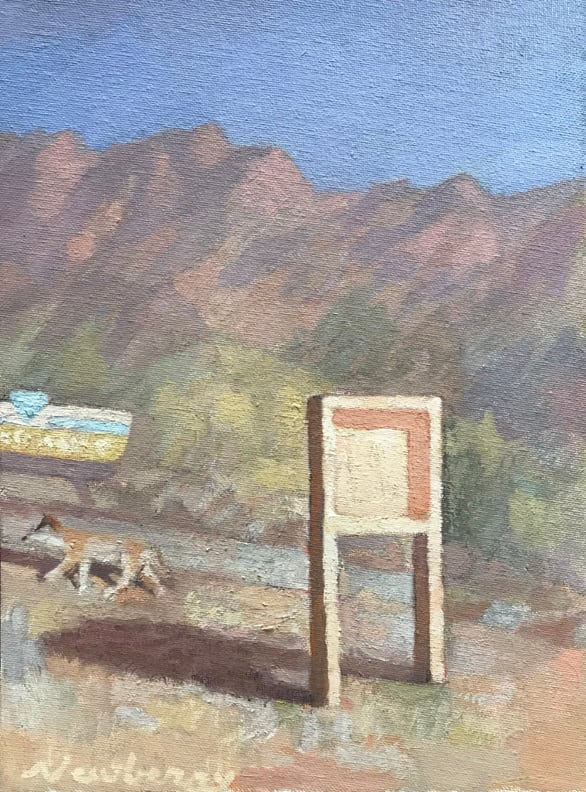 Newberry, Coyote, 2020, oil on panel, 9x12""