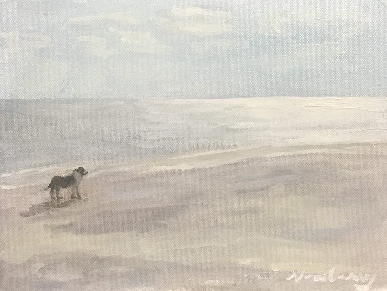 """Newberry, Doggie at the Beach, 2020, oil on panel, 9x12"""" by Michael Newberry"""
