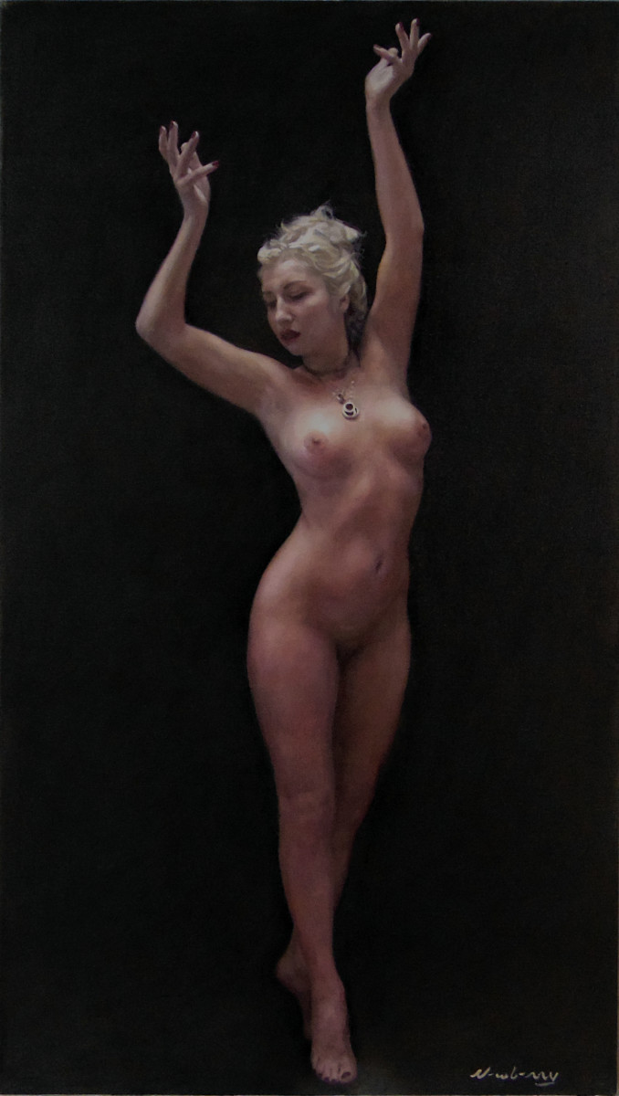 """Newberry, Reaching For the High Note, oil on linen, 46×26"""" by Michael Newberry"""