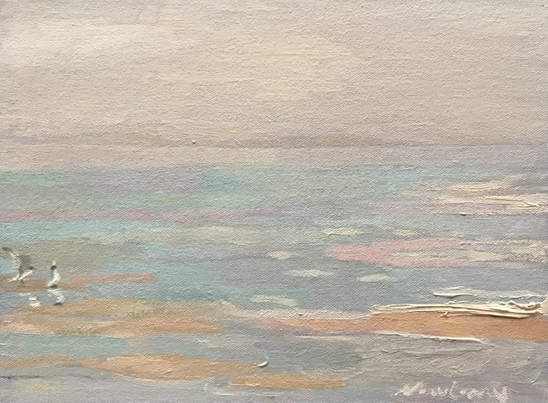 """Newberry, Seagulls, 2020, oil on panel, 9x12"""" by Michael Newberry"""