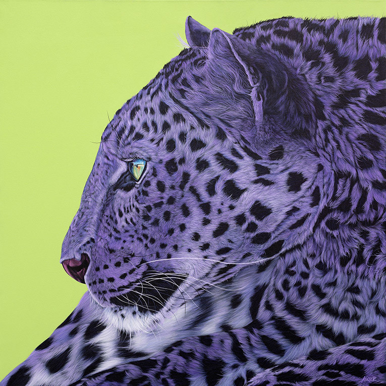 LEOPARD ON GREEN, Diptych Right Panel, 2014
