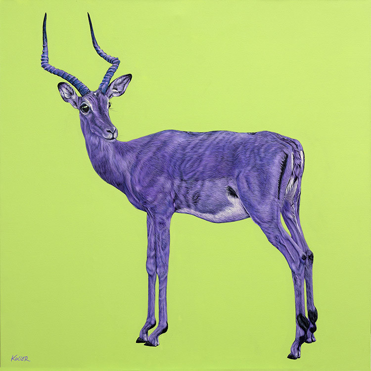 IMPALA ON GREEN, Diptych Left Panel, 2015