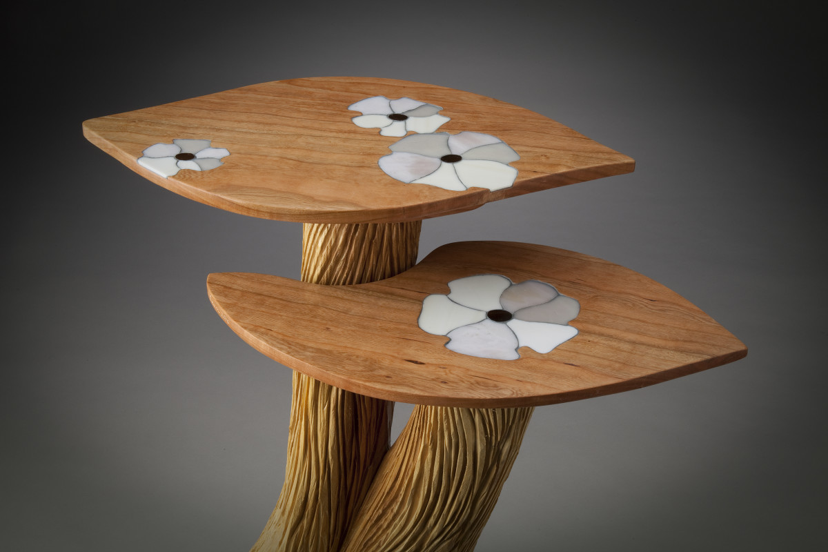 Two-Level Table with White Flower Inlay by aaron d laux
