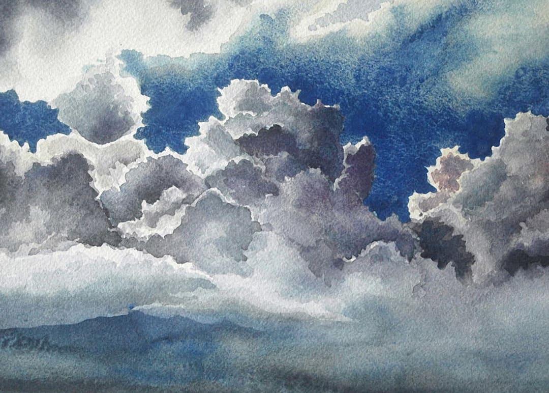 August Clouds an original watercolor by Helen R Klebesadel