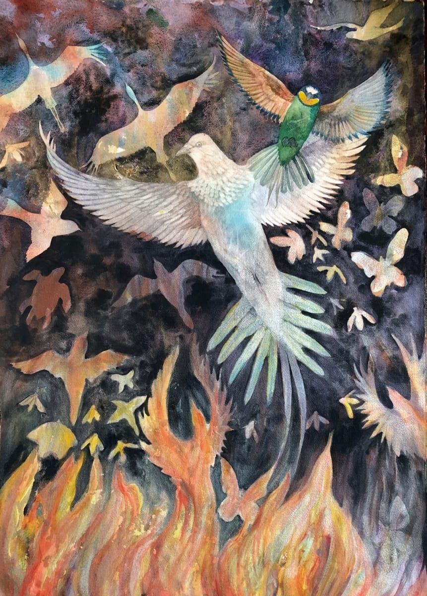 Nature Arising II an original watercolor by Helen R Klebesadel
