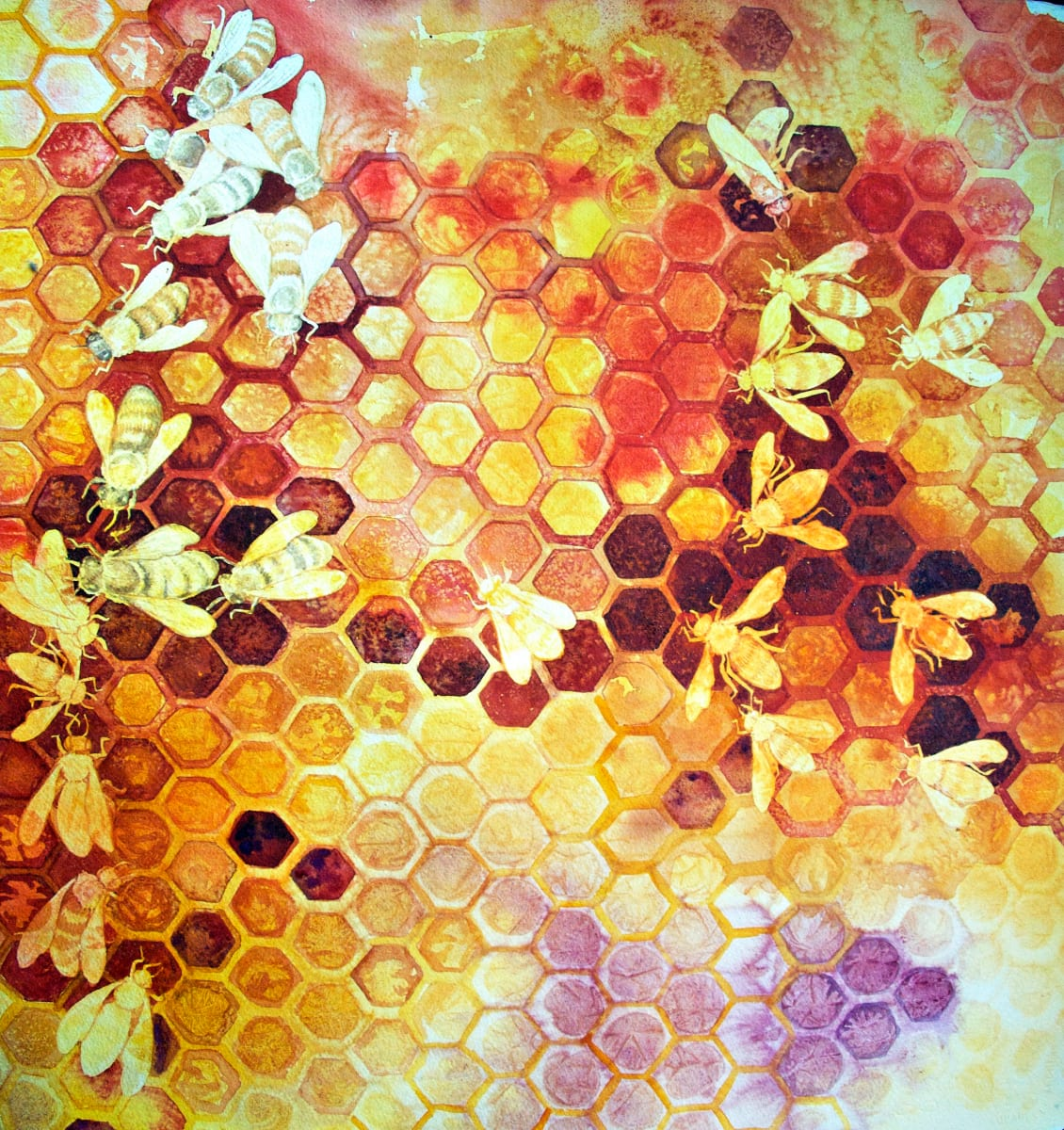 Where Art The Bees VII an original watercolor by Helen R Klebesadel