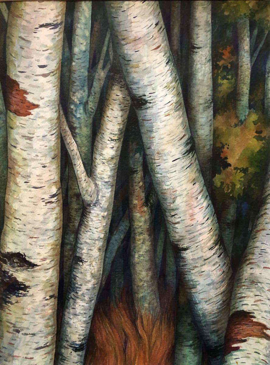 Birches III an original watercolor by Helen R Klebesadel