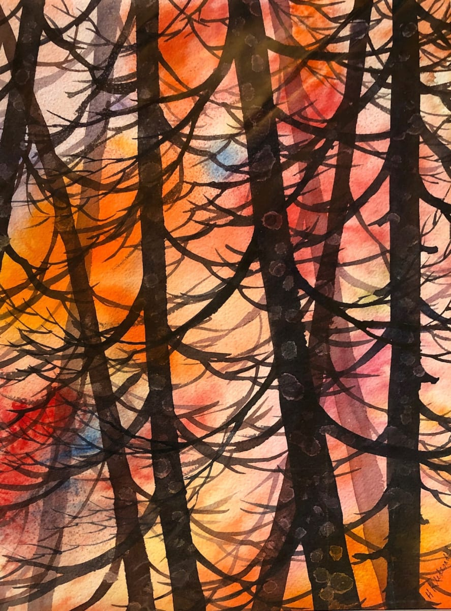 Cedar Grove Study III  an original watercolor by Helen R Klebesadel
