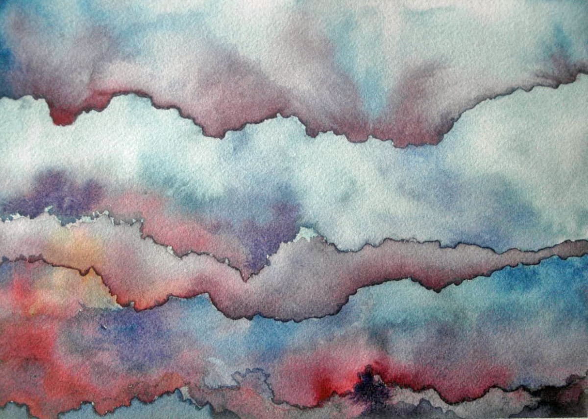Cloud Study:  Layers an original watercolor by Helen R Klebesadel