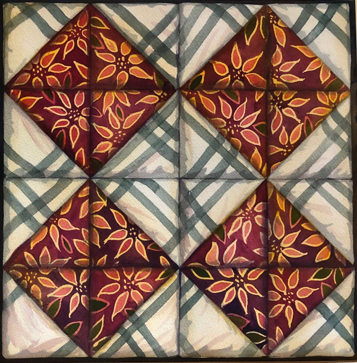 Quilt Square: Crossroads an original watercolor by Helen R Klebesadel
