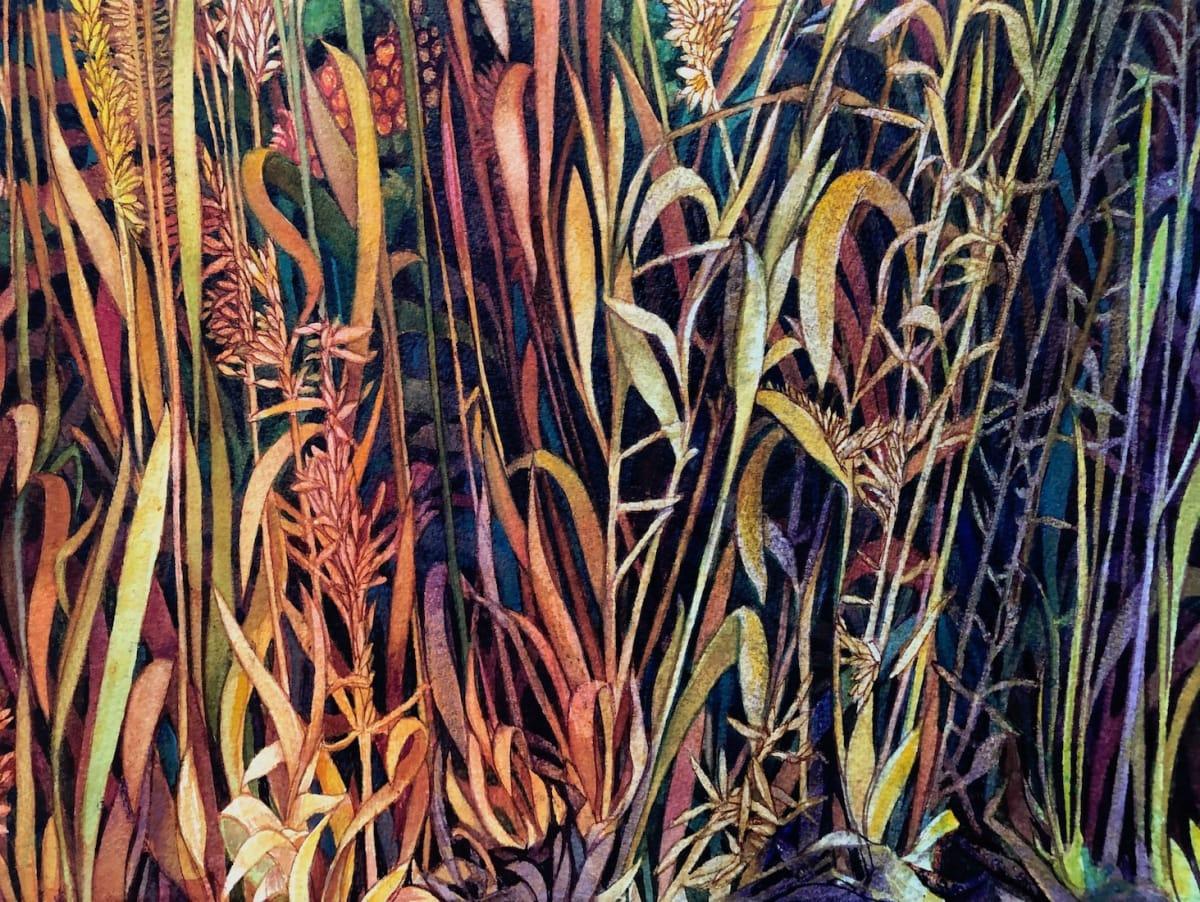 Fall Prairie Grasses II and original watercolor by Helen R Klebesadel