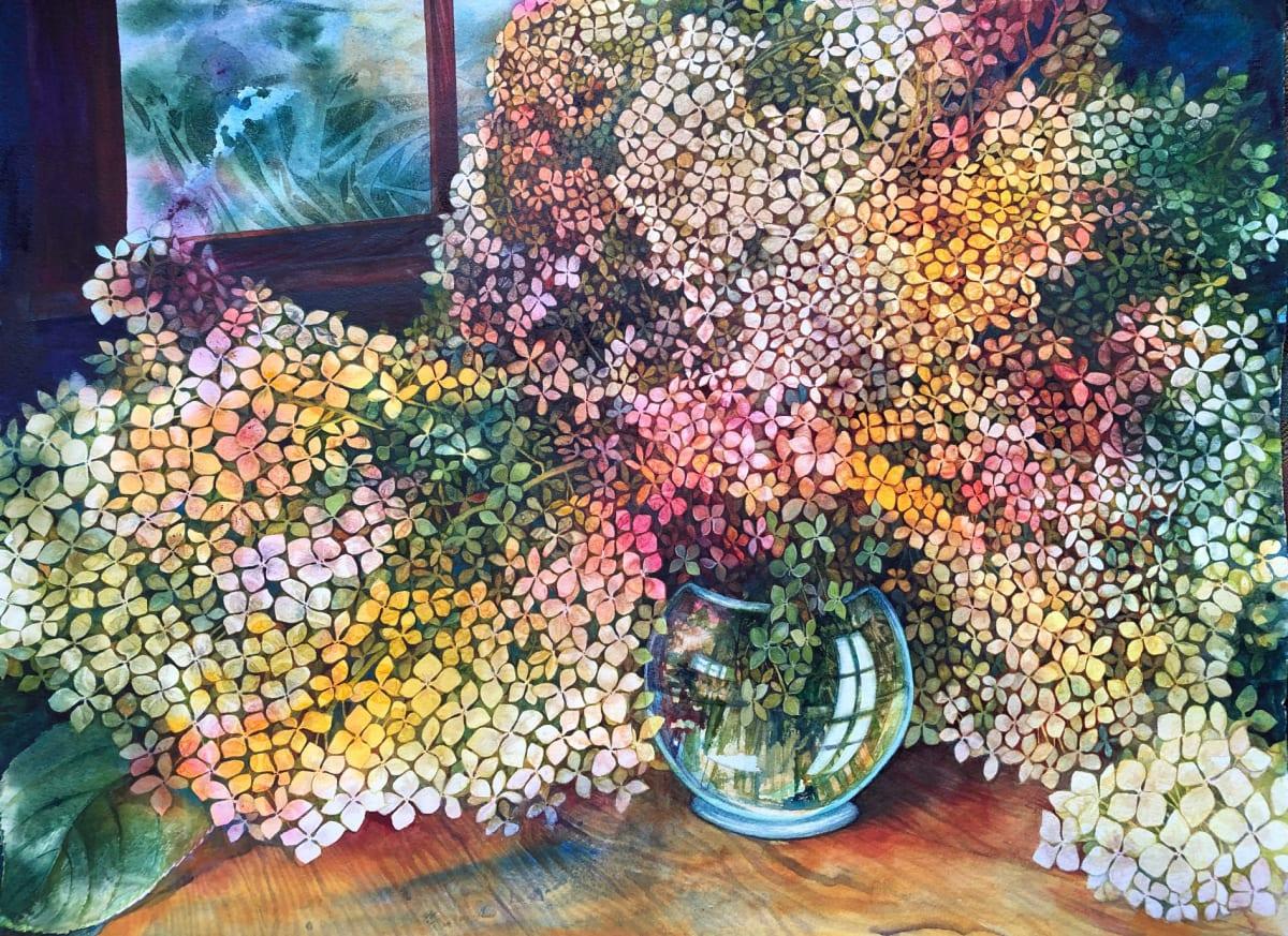 Hydrangea an original watercolor by Helen R Klebesadel