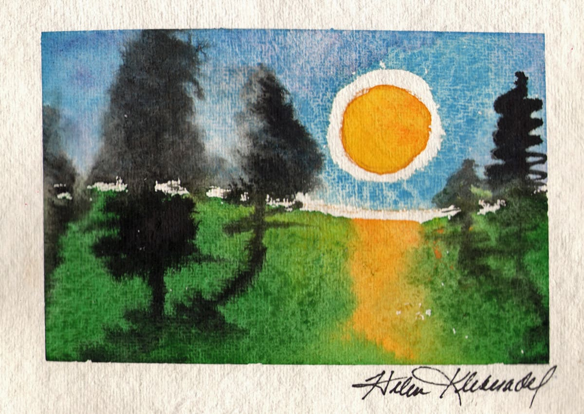Ink Trees Sunset I  original watercolor by Helen R Klebesadel
