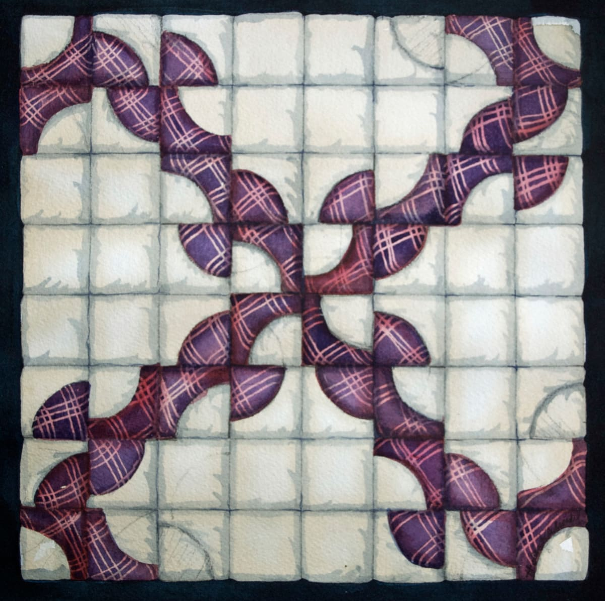 Quilt Square:  Monkey Wrench an original watercolor by Helen R Klebesadel
