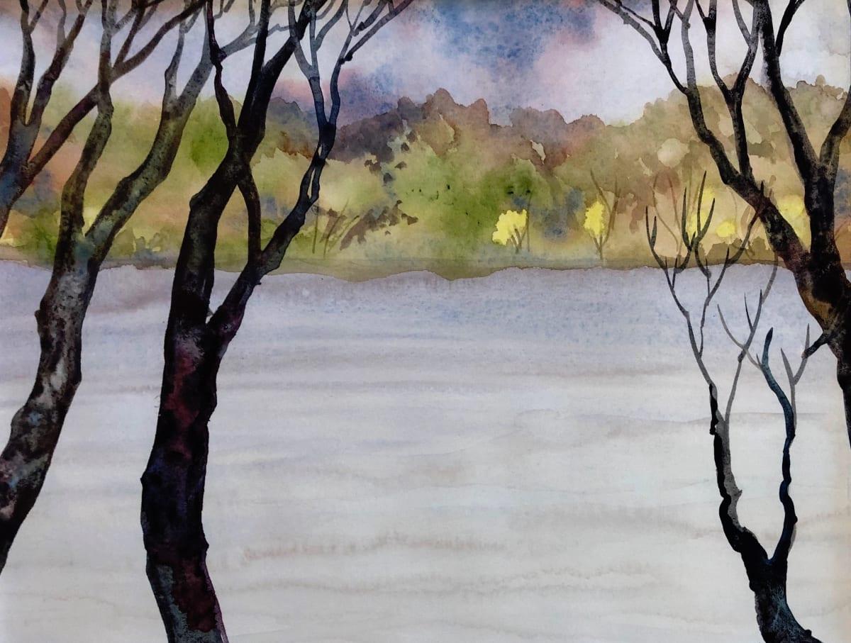 Patagonia Lake an original watercolor by Helen R Klebesadel