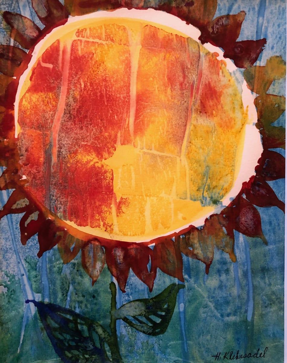 Sunflower Study II an original watercolor by Helen R Klebesadel