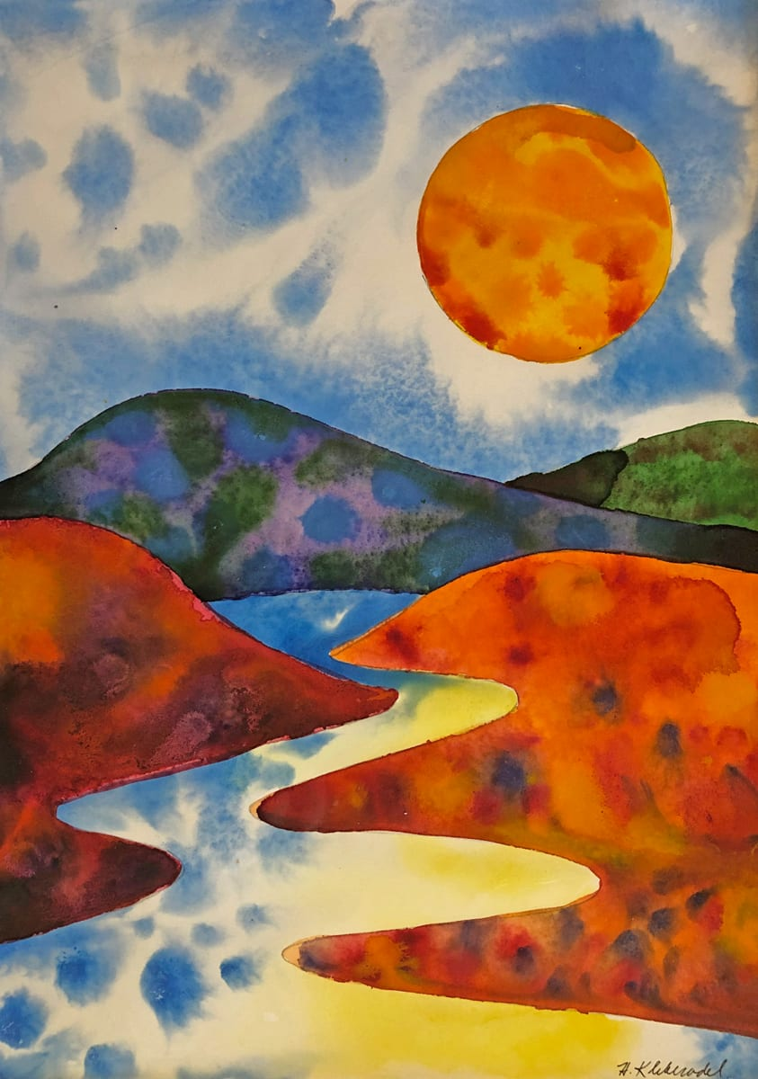 Sunset River  II an original watercolor by Helen R Klebesadel