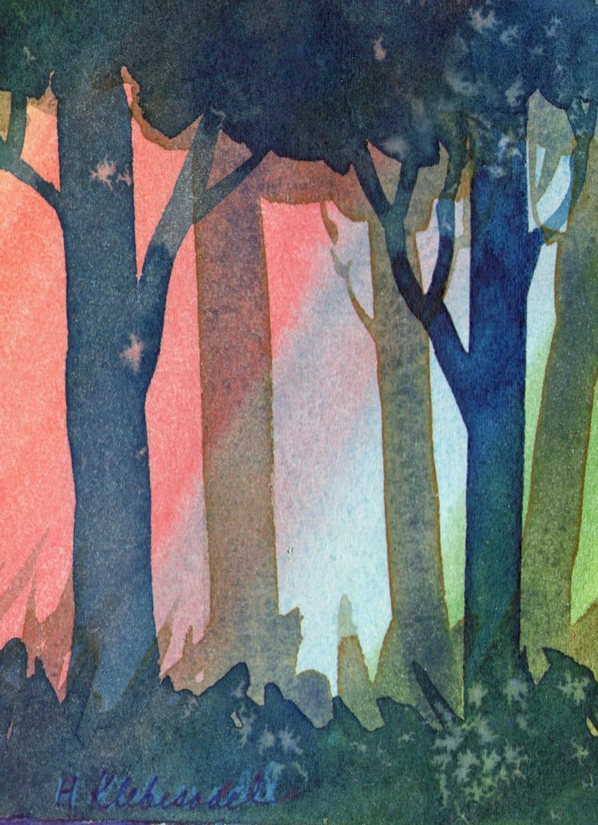 Sunset Trees II original Watercolor by Helen R Klebesadel