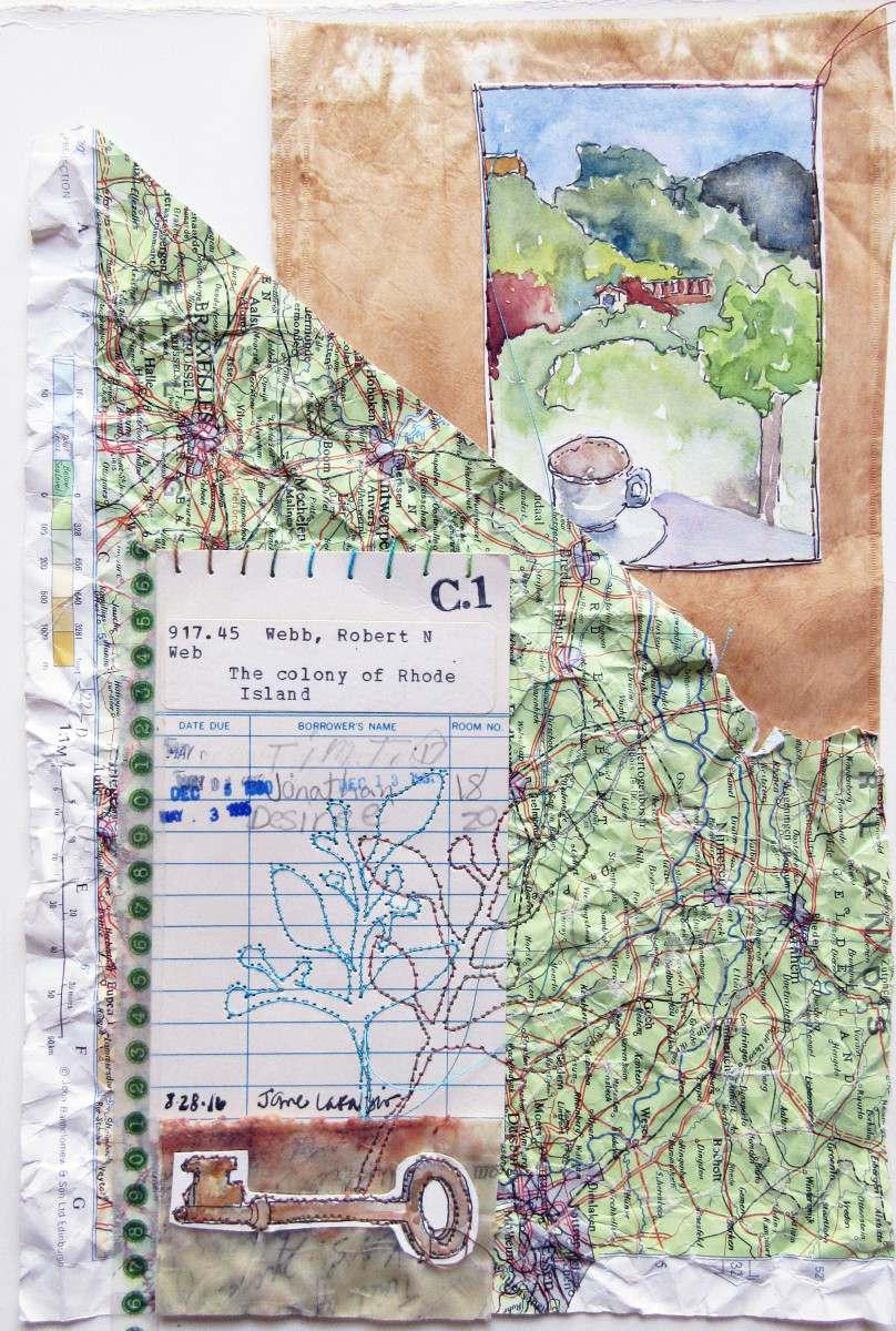 The Colony of Rhode Island ~ A library card collage by Jane LaFazio