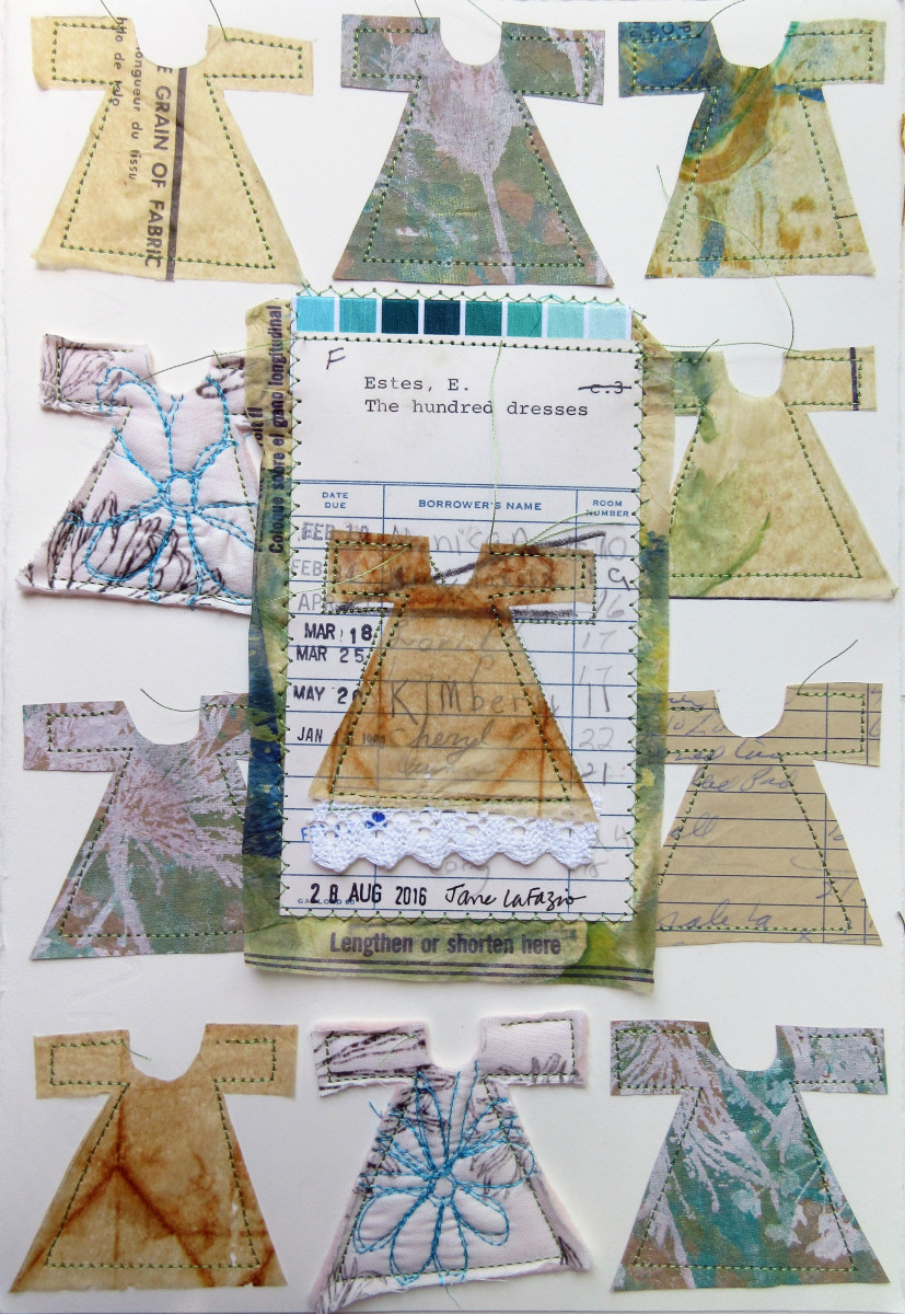 The Hundred Dresses ~ a library card collage by Jane LaFazio