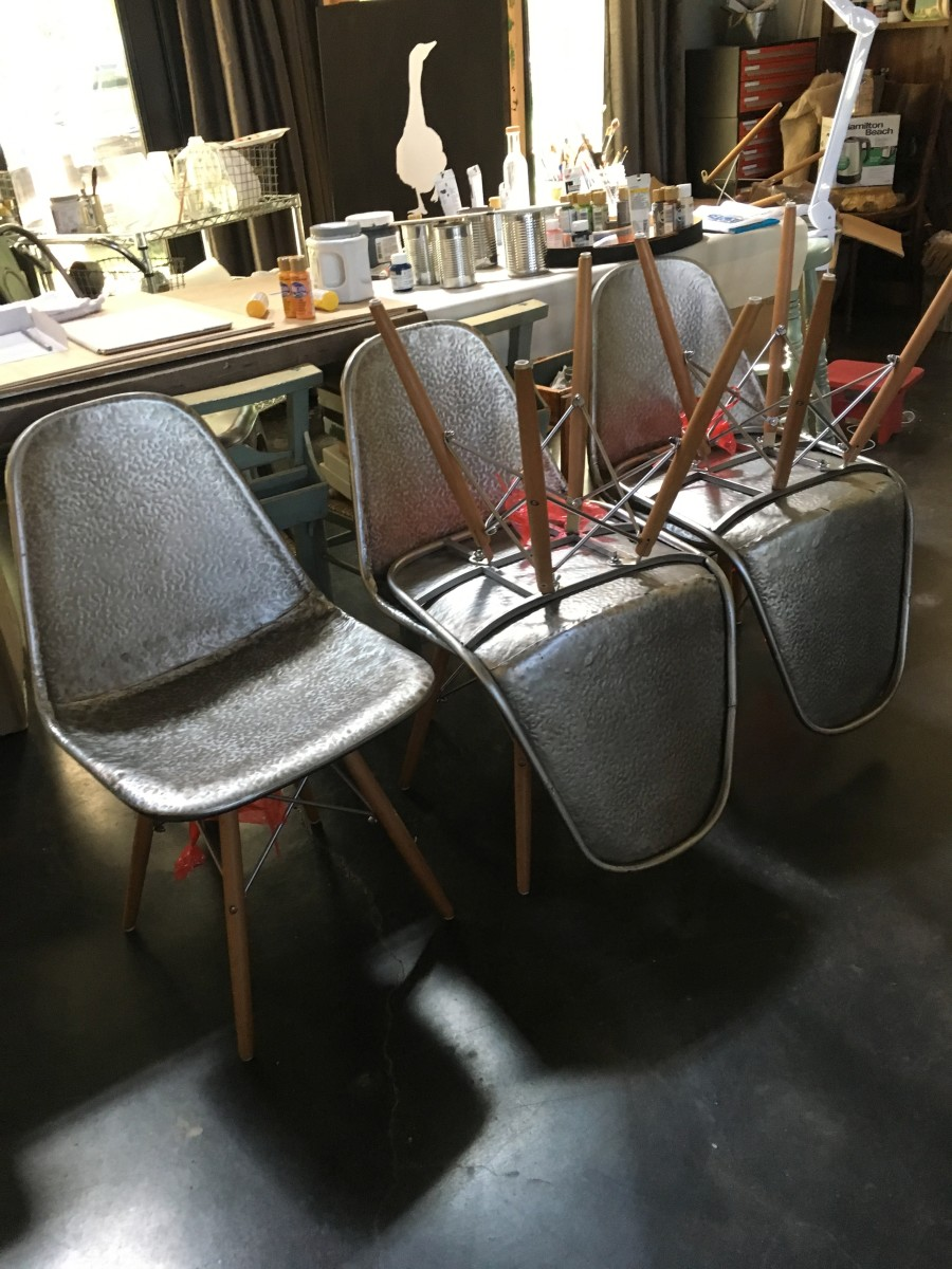 Furniture - Wooden Leg Metal Loft Chair    4sold by Ann A Blake