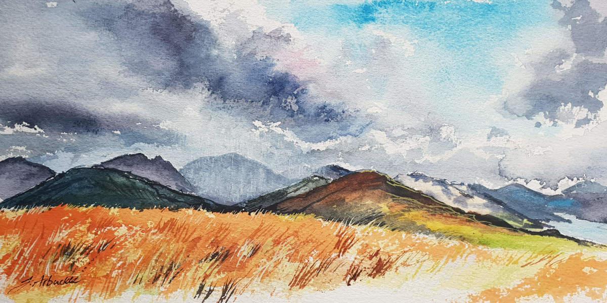 Rain over the Arrochar Alps (watercolour)